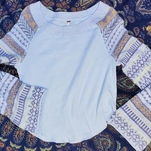 Free People Baby Blue Sweater Periwinkle Combo LG